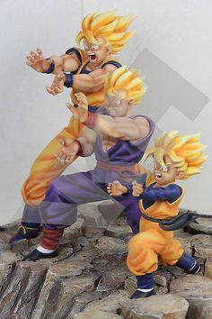 Triple Kamehameha (Goku, Gohan, Goten) Resin Statue Figure Diorama DragonBall Z
