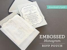 Grab the FREE monogram template! DIY embossed monogram RSVP pouch with free printable Free Printable Wedding Invitations, Diy Invitations, Invitation Ideas, Invites, Monogram Template, Free Monogram, Wedding Rsvp, Diy Wedding, Wedding Stuff