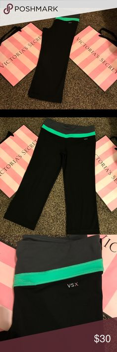 Victoria's Secret sexy workout capris Like new size small green, gray, and black PINK Victoria's Secret Pants Capris