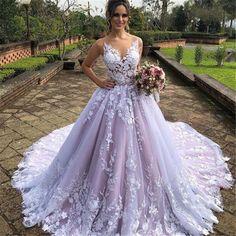 Purple Wedding Gown, Lavender Wedding Dress, Garden Wedding Dresses, Luxury Wedding Dress, Colored Wedding Dresses, Cheap Wedding Dress, Wedding Dress Styles, Dream Wedding Dresses, Stunning Wedding Dresses