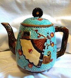 Rare English Majolica Teapot ~ Asian inspired Turquoise with Fan, Crane, Scroll & Insect/ S Fielding & CO Stoke on Trent Staffordshire England 1879