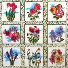 Flower Blocks Rose, Tulip, Lilac, Daisy, Pansy 24x22 Cotton Fabric