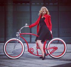 Little Red Ridin' Hood! #model #custom #bicycle #red #blonde #cute #ootd