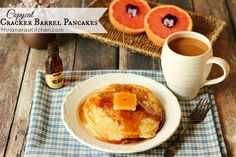 These Copycat Cracker Barrel Pancakes are a bit better than the ones served at the restaurant. Only 5 ingredients, and instructions to make a homemade mix. Eat Breakfast, Breakfast Recipes, Snack Recipes, Cooking Recipes, Breakfast Ideas, Cooking Ideas, Snacks, Copycat Cracker Barrel Pancakes, Tasty Pancakes
