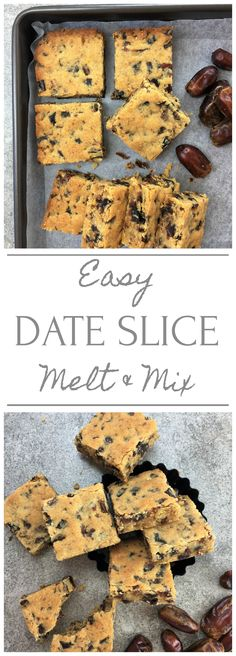 Easy date slice - just melt and mix - all the flavours of sticky date in the form of bars / slice (Favorite Pins Food Drink) Baking Tins, Baking Recipes, Cookie Recipes, Dessert Recipes, Bar Recipes, Recipes Dinner, Date Slice, Easy Date, Tray Bakes