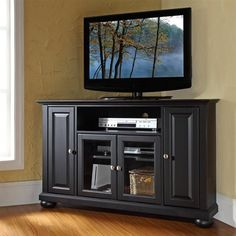 Crosley Furniture KF10006ABK Alexandria Corner TV Stand