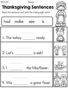 Thanksgiving Kindergarten Language Arts Worksheets | Thanksgiving ...