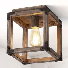 Our square open ceiling light is ideal for your modern farmhouse, rustic kitchen or industrial interior design. Features an Edison-style LED bulb inside a barnwood-finished frame, accented with oil rubbed bronze. This rustic light fixture is perfect for the living room, kitchen, entry, hallway or bedroom. Farmhouse Light Fixtures, Kitchen Lighting Fixtures, Farmhouse Lighting, Ceiling Light Fixtures, Rustic Farmhouse, Rustic Kitchen, Room Kitchen, Industrial Farmhouse, Light Fittings
