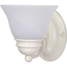 1-Light Textured White Vanity Light with Alabaster Glass Bell Shades