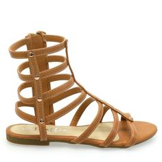 This gladiator style flat sandal is the perfect summer accessory! Features include a rubber sole, open toe front, multiple gladiator styled straps that cage at ankle length with side panel zipper for