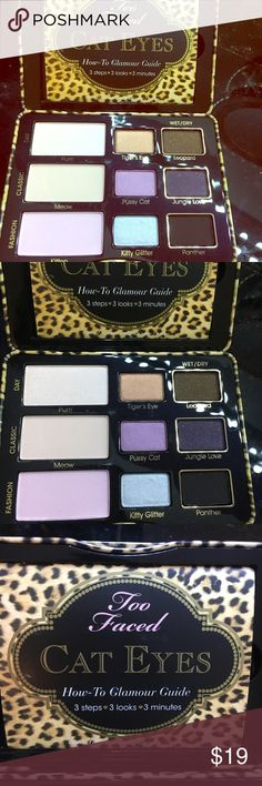 Two Faced Cat Eyes Palette NWOT 🐱 NWOT.  Too Faced eye shadow palette.  Day, classic and fashion look.  9 Eye shadows.  Purrr Meow Kitten Tiger's Eye Leopard Pussy Cat Kitty Glitter Jungle Love Panther Too Faced Makeup Eyeshadow