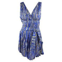 Rachel Zoe womens royal blue krista bubble zebra sash waist dress 8
