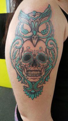 Sugar skull owl tattoo by James Alderman aka squirrel_gravy
