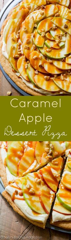 You won't believe how AMAZING this dessert pizza is! Caramel, cream cheese frosting, snickerdoodle cookie crust, and crunchy apples! Sallys Baking Addiction, Apple Recipes, Apple Desserts, Fruit Recipes, Best Dessert Recipes, Fall Desserts, Dessert Ideas, Fall Recipes, Delicious Desserts