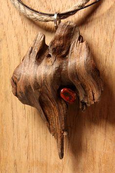 Poel - Kette aus Treibholz, Leder, Hanfseil und Jaspis, Design-Schmuck, handgefertigtes Unikat