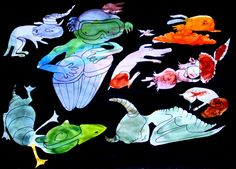 Vesivärimaalauksen kokeilupaperista löydetyt hahmot ja taustan maalaus mustaksi.