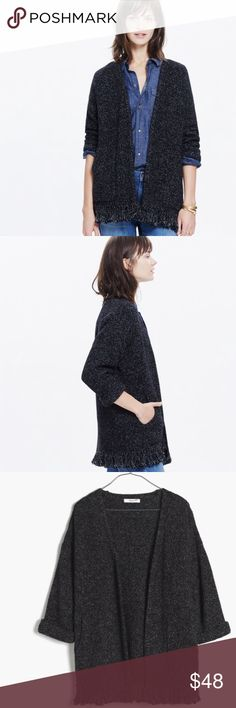 Madewell Memento Fringe Cardigan Madewell Memento Fringe Cardigan in Marled black.  Cuffed sleeves and pockets with fringe hemline.  Size L.  This one runs a bit large.  100% cotton and perfect for Fall!  In excellent condition Madewell Sweaters Cardigans