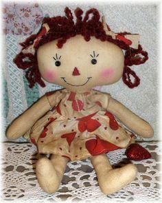 Lil Valentina Annie-raggedy,raggedy ann,raggedy annie,primitive,doll,prim,annies,raggedies,handmade,homemade,rag doll,valentine,red,pink
