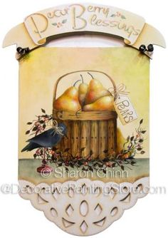 The Decorative Painting Store: PearBerry Blessings Pattern by Sharon Chinn - Choose Format, Newly Added Painting Patterns / e-Patterns Online Painting Classes, Arte Country, Rainy Day Crafts, Crows Ravens, Country Paintings, Learn To Paint, Painting Patterns, Metallic Paint, Line Art