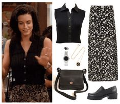 Discover outfit ideas for made with the shoplook outfit maker. How to wear ideas for concord watch and Coach Shoulder Bag Indie Outfits, Retro Outfits, Vintage Outfits, Fashion Tv, Fashion Outfits, Monica Gellar, Jennifer Aniston Style, Movie Inspired Outfits, Tv Show Outfits