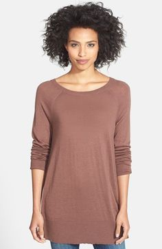 Women's Year Round Cashmere Easy V-neck Tunic Sweater from Lands ...
