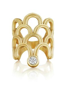 A gold and diamond openwork ring by Doryn Wallach.