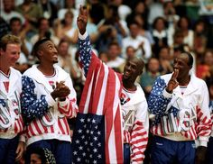 Members of the U.S. basketball team Larry Bird, Scottie Pippen, Michael Jordan and Clyde Drexler celebrate after winning the Gold Medal during the 1992 Summer Olympic Games in Barcelona.