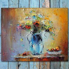 PALETTE KNIFE Flowers Painting Colorfull by StanislavLazarovArt