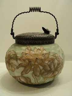 "RARE MT Washington ""Crown Milano"" Art Glass Cracker Jar Biscuit Barrel 