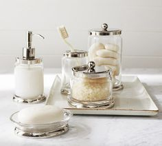 Holden Metal & Glass Soap Dish - traditional - bath and spa accessories - Pottery Barn Spa Accessories, Bathroom Accessories Luxury, Traditional Bathroom Accessories, Interior Accessories, Bathroom Canisters, Bathroom Towels, Bathroom Canvas, Glass Canisters, Diy Soap Dish Holder