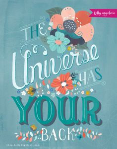 This inspirational greeting card features the hand lettered phrase The Universe Has Your Back. I created this collection for the goddess in YOU. As I follow the whispers of my heart, my dream is to inspire you to do the same. Printed on 100% recycled paper.