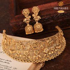 Choker Necklace Online, Gold Choker Necklace, Short Necklace, Simple Necklace, Gold Bangles Design, Gold Jewellery Design, Jewelry Design Earrings, Necklace Designs, Gold Temple Jewellery