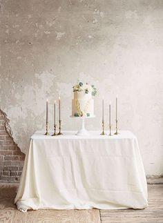 Elegant Neutral Wedding Cake Table with Taper Candles | Morgan Gosch Photography | heyweddinglady.co...
