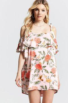 Forever 21 Floral Open-Shoulder Dress
