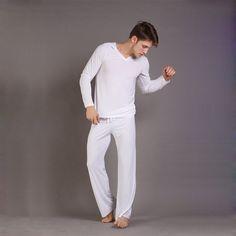 27.35$  Buy here - http://ali3t8.shopchina.info/1/go.php?t=32296814714 - Sexy Men's Yoga Twinset N2N Tops+Pants Comfortable Ice Pajamas Sets Men Sleepwear Home Pyjamas Night bath Clothes  #magazineonlinebeautiful