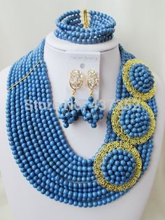 Find More Jewelry Sets Information about Fashion! Diy Store, Costume Necklaces, African Beads, Turquoise Beads, Brooches, Jewelry Sets, Crochet Necklace, Navy Blue, Wedding
