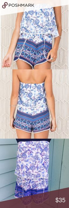 Blue Paisley Strapless Romper Brand new adorable summer romper. Ships same day if ordered by 11:00 CST. Pants Jumpsuits & Rompers