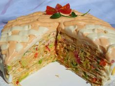 Tarta salada de tortitas (Fría) Ana Sevilla con Thermomix No Cook Appetizers, Sweet And Salty, Fajitas, Tapas, Tortillas, Brunch, Easy Meals, Food And Drink, Cooking Recipes