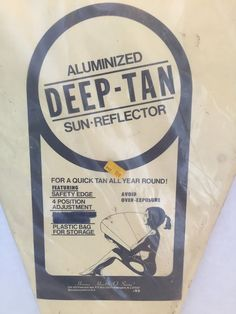 Vintage Sun Reflector Aluminized Deep Tan Year Round Beach Fun 60's Rockabilly  #HoraceHealthOSwim