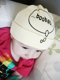 Funny baby hat. Boobies on the brain. Screen printed thought bubble. Newborn infant cap.. $12.00, via Etsy.