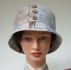 Linen Bucket Hat Hand Painted in Indigo and by softshelterhats