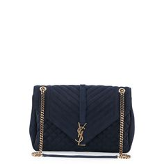 Saint Laurent Monogram Large Tri-Quilt Suede Slouchy Chain Shoulder... (10,115 ILS) ❤ liked on Polyvore featuring bags, handbags, shoulder bags, navy, chain strap shoulder bag, quilted purse, chain strap handbag, navy blue purse and quilted handbags