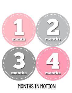 Baby Girl Monthly Milestone Birthday Stickers Style #046