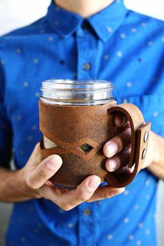 How to: Make a Leather Mason Jar Mug | Man Made DIY | Crafts for Men | Keywords: coffee, leather, Coffee, kitchen