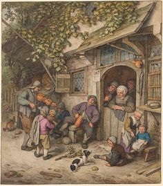 Adriaen van Ostade | A Violinist at an Ale House Door | Drawings Online | The Morgan Library & Museum
