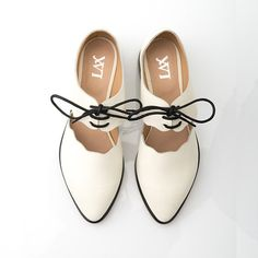 Women's flats with cutouts shaped like sand waves, SUMMER SCHOOL, front Laces, in white sand colour leather, new collection SS15, on Etsy
