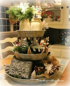 Creative Three Tier Stand Collections to Beautify Your Home Decor - DecOMG All Things Christmas, Christmas Time, Christmas Crafts, Galvanized Tiered Tray, Tiered Stand, Tiered Server, Country Farmhouse Decor, Farmhouse Kitchens, Tray Decor