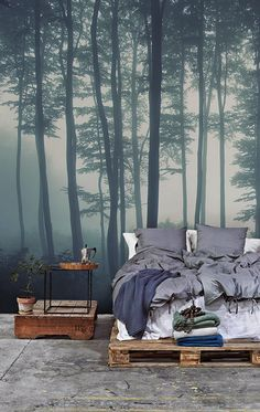 80 Bachelor Pad Men's Bedroom Ideas – Manly Interior Design Wallpaper Nature Forest Bachelor Pad Male Bedroom Ideas Dream Bedroom, Home Bedroom, Nature Bedroom, Edgy Bedroom, Forest Bedroom, Male Bedroom Decor, Modern Bedroom, Masculine Bedrooms, Girls Bedroom