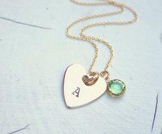Monogram engraved gold pendant necklace, hand engraved gold necklace with Swarovski crystal birthstone by InspiredByBronx on Etsy https://www.etsy.com/listing/412534574/monogram-engraved-gold-pendant-necklace