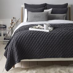 Pembrooke Bedspread in charcoal grey wool by The White Company on ...